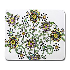 Frame Flower Floral Sun Purple Yellow Green Large Mousepads by Alisyart
