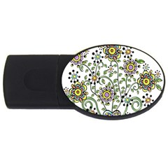 Frame Flower Floral Sun Purple Yellow Green Usb Flash Drive Oval (2 Gb) by Alisyart