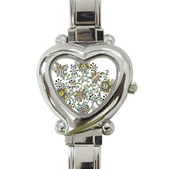 Frame Flower Floral Sun Purple Yellow Green Heart Italian Charm Watch by Alisyart