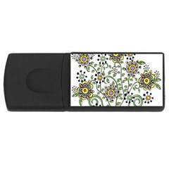 Frame Flower Floral Sun Purple Yellow Green Usb Flash Drive Rectangular (4 Gb) by Alisyart