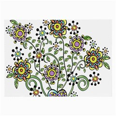 Frame Flower Floral Sun Purple Yellow Green Large Glasses Cloth (2 Side)