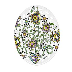Frame Flower Floral Sun Purple Yellow Green Oval Filigree Ornament (two Sides) by Alisyart