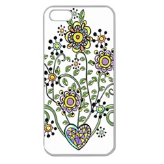 Frame Flower Floral Sun Purple Yellow Green Apple Seamless Iphone 5 Case (clear) by Alisyart