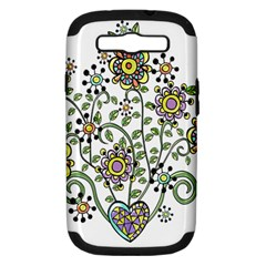 Frame Flower Floral Sun Purple Yellow Green Samsung Galaxy S Iii Hardshell Case (pc+silicone)