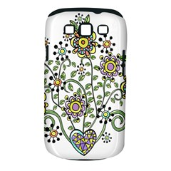 Frame Flower Floral Sun Purple Yellow Green Samsung Galaxy S Iii Classic Hardshell Case (pc+silicone)