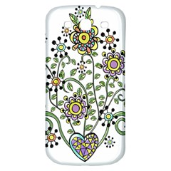 Frame Flower Floral Sun Purple Yellow Green Samsung Galaxy S3 S Iii Classic Hardshell Back Case