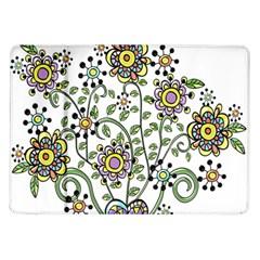 Frame Flower Floral Sun Purple Yellow Green Samsung Galaxy Tab 10 1  P7500 Flip Case by Alisyart