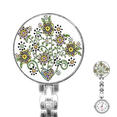 Frame Flower Floral Sun Purple Yellow Green Stainless Steel Nurses Watch by Alisyart