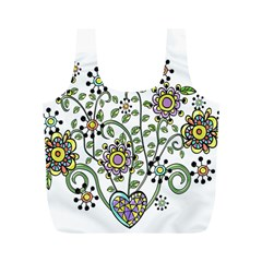 Frame Flower Floral Sun Purple Yellow Green Full Print Recycle Bags (m)  by Alisyart