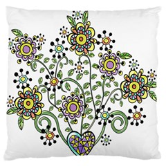 Frame Flower Floral Sun Purple Yellow Green Large Flano Cushion Case (one Side) by Alisyart