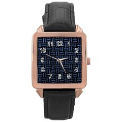 Woven1 Black Marble & Blue Stone Rose Gold Leather Watch  by trendistuff
