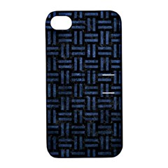 Woven1 Black Marble & Blue Stone Apple Iphone 4/4s Hardshell Case With Stand by trendistuff