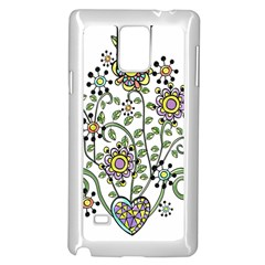 Frame Flower Floral Sun Purple Yellow Green Samsung Galaxy Note 4 Case (white)