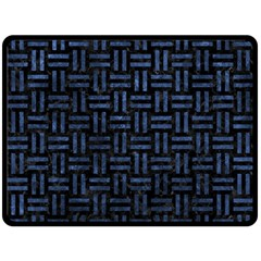 Woven1 Black Marble & Blue Stone Double Sided Fleece Blanket (large)