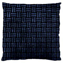 Woven1 Black Marble & Blue Stone Large Flano Cushion Case (one Side)