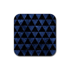 Triangle3 Black Marble & Blue Stone Rubber Square Coaster (4 Pack) by trendistuff