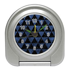 Triangle3 Black Marble & Blue Stone Travel Alarm Clock by trendistuff