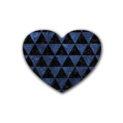 Triangle3 Black Marble & Blue Stone Rubber Heart Coaster (4 Pack) by trendistuff