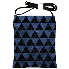 Triangle3 Black Marble & Blue Stone Shoulder Sling Bag by trendistuff