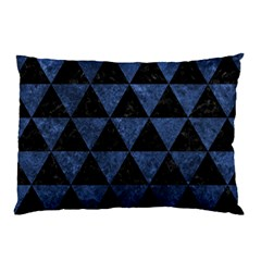 Triangle3 Black Marble & Blue Stone Pillow Case (two Sides) by trendistuff