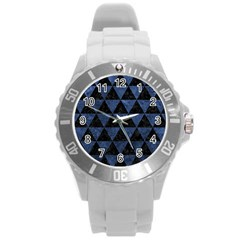 Triangle3 Black Marble & Blue Stone Round Plastic Sport Watch (l) by trendistuff