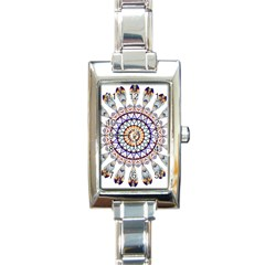Circle Star Rainbow Color Blue Gold Prismatic Mandala Line Art Rectangle Italian Charm Watch by Alisyart