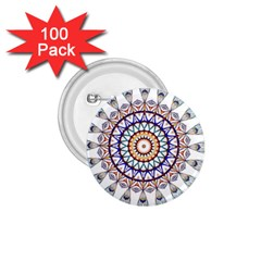 Circle Star Rainbow Color Blue Gold Prismatic Mandala Line Art 1 75  Buttons (100 Pack)  by Alisyart