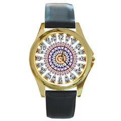Circle Star Rainbow Color Blue Gold Prismatic Mandala Line Art Round Gold Metal Watch by Alisyart