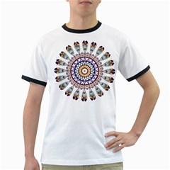 Circle Star Rainbow Color Blue Gold Prismatic Mandala Line Art Ringer T Shirts by Alisyart