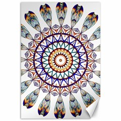 Circle Star Rainbow Color Blue Gold Prismatic Mandala Line Art Canvas 12  X 18   by Alisyart