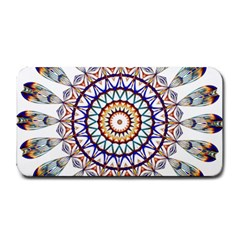 Circle Star Rainbow Color Blue Gold Prismatic Mandala Line Art Medium Bar Mats by Alisyart