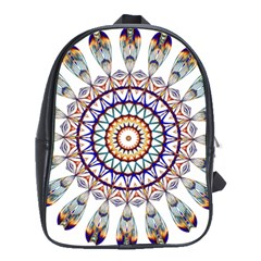 Circle Star Rainbow Color Blue Gold Prismatic Mandala Line Art School Bags(large)  by Alisyart