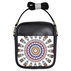 Circle Star Rainbow Color Blue Gold Prismatic Mandala Line Art Girls Sling Bags