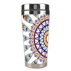 Circle Star Rainbow Color Blue Gold Prismatic Mandala Line Art Stainless Steel Travel Tumblers by Alisyart