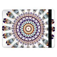 Circle Star Rainbow Color Blue Gold Prismatic Mandala Line Art Samsung Galaxy Tab Pro 12 2  Flip Case
