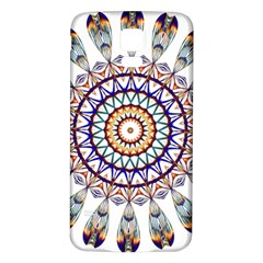 Circle Star Rainbow Color Blue Gold Prismatic Mandala Line Art Samsung Galaxy S5 Back Case (white)