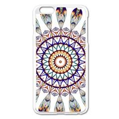 Circle Star Rainbow Color Blue Gold Prismatic Mandala Line Art Apple Iphone 6 Plus/6s Plus Enamel White Case