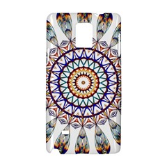 Circle Star Rainbow Color Blue Gold Prismatic Mandala Line Art Samsung Galaxy Note 4 Hardshell Case