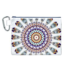 Circle Star Rainbow Color Blue Gold Prismatic Mandala Line Art Canvas Cosmetic Bag (l) by Alisyart