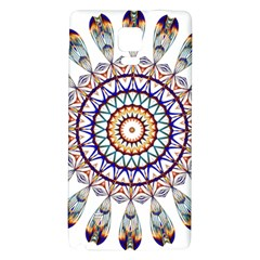 Circle Star Rainbow Color Blue Gold Prismatic Mandala Line Art Galaxy Note 4 Back Case