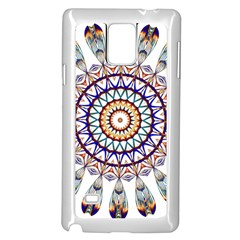 Circle Star Rainbow Color Blue Gold Prismatic Mandala Line Art Samsung Galaxy Note 4 Case (white)
