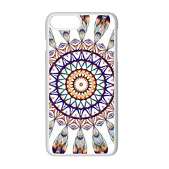 Circle Star Rainbow Color Blue Gold Prismatic Mandala Line Art Apple Iphone 7 Plus White Seamless Case