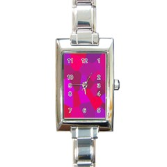 Voronoi Pink Purple Rectangle Italian Charm Watch by Alisyart