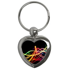 Vortex Rainbow Twisting Light Blurs Green Orange Green Pink Purple Key Chains (heart)  by Alisyart