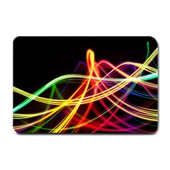 Vortex Rainbow Twisting Light Blurs Green Orange Green Pink Purple Small Doormat  by Alisyart