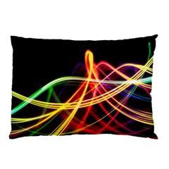 Vortex Rainbow Twisting Light Blurs Green Orange Green Pink Purple Pillow Case by Alisyart