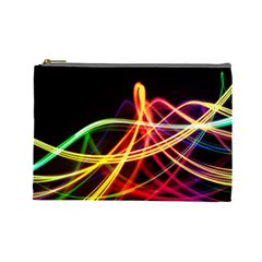 Vortex Rainbow Twisting Light Blurs Green Orange Green Pink Purple Cosmetic Bag (large)  by Alisyart
