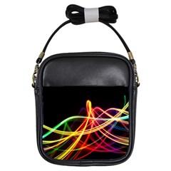 Vortex Rainbow Twisting Light Blurs Green Orange Green Pink Purple Girls Sling Bags by Alisyart