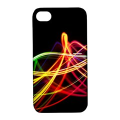 Vortex Rainbow Twisting Light Blurs Green Orange Green Pink Purple Apple Iphone 4/4s Hardshell Case With Stand