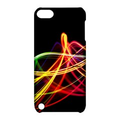 Vortex Rainbow Twisting Light Blurs Green Orange Green Pink Purple Apple Ipod Touch 5 Hardshell Case With Stand